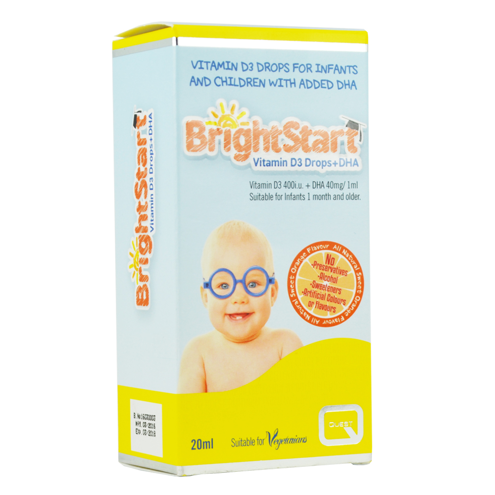 QUEST Quest BrightStart Vitamin D3 Drops & DHA, 20ml