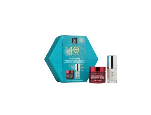 Apivita 40s Birthday Set Wine Elixir Ελαφριάς Υφής 50ml + Δώρο 5 Action Eye Serum 15ml