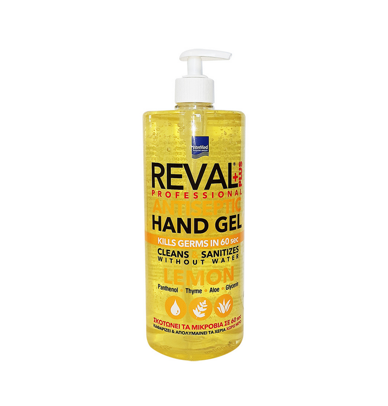 Intermed Reval Plus Antiseptic Hand Gel Lemon Σκοτώνει τα Μικρόβια σε 60΄΄ 1Lt