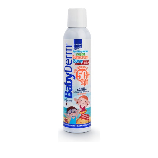 Intermed BabyDerm Invisible Sunscreen Spray for Kids SPF50+ With Vitamin C Διάφανο Αντηλιακό Σπρέι για Παιδιά 200ml