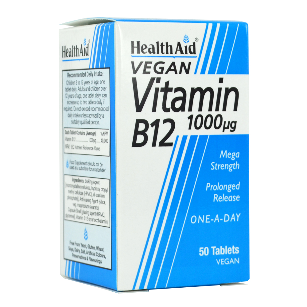 HEALTH AID VITAMIN B12 (CYANOCOBALAMIN) 1000UG PROLONGED RELEASE TABLETS 50