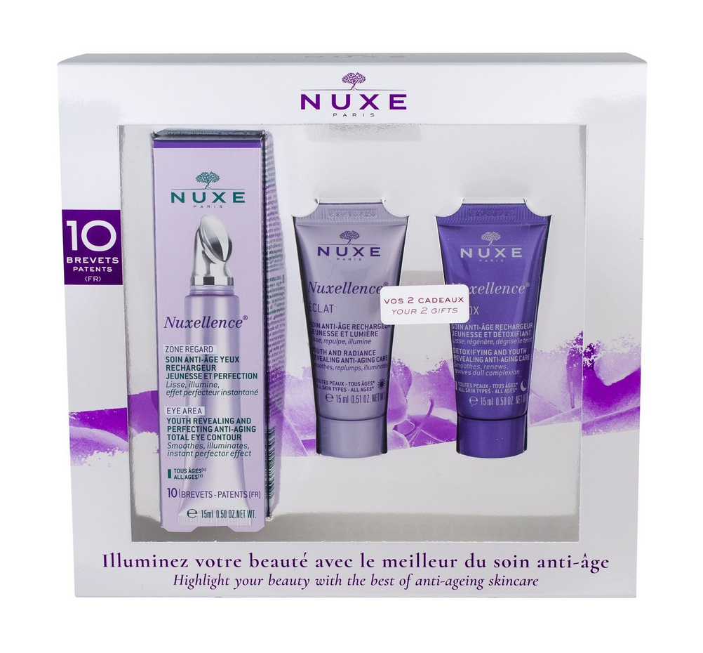 Nuxe Nuxellence Anti-Aging Total Eye Contour 15ml & ΔΩΡΟ Day Eclat 15ml & Detox Night 15ml