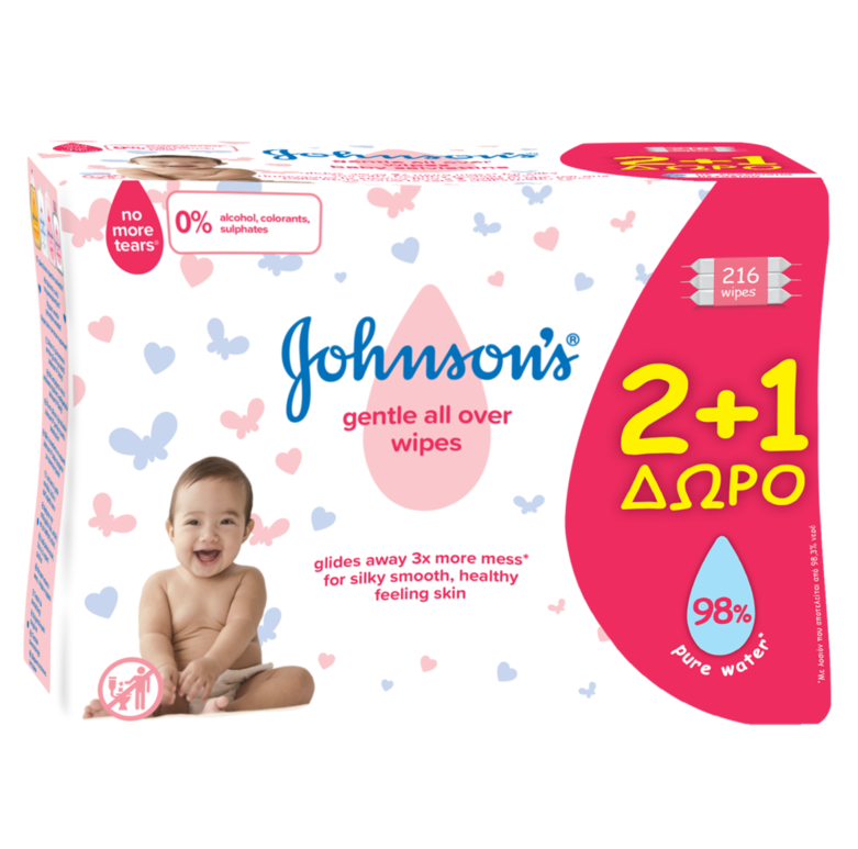 Johnsons Baby Gentle All Over Wipes 2+1 ΔΩΡΟ 216τμχ