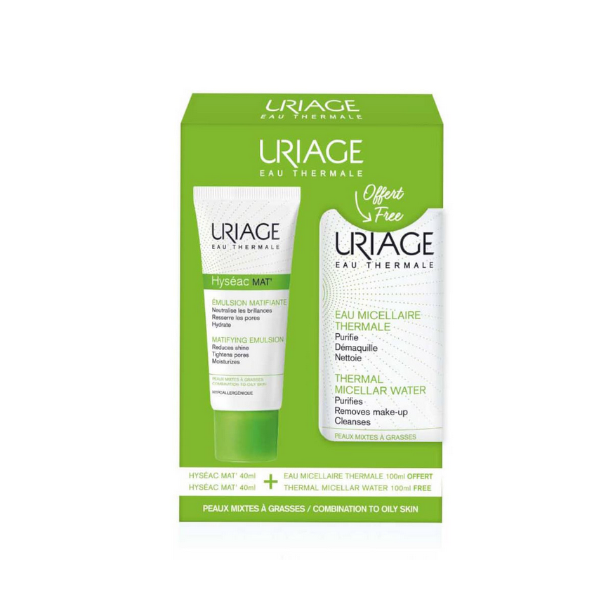 Uriage Set Hyseac Mat Matifying Emulsion 40ml & ΔΩΡΟ Eau Micellaire Thermale Νερό Ντεμακιγιάζ 100ml