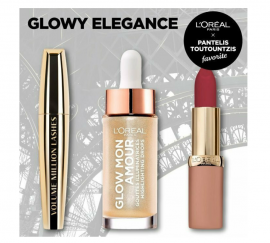 LOreal Paris Set Glow Mon Amour Highlighting Drops 01 Sparkling Love 15ml + Loreal Paris Volume Million lashes Black 10,7ml + LOreal Paris Color Riche Ultra Matte Lipstick 08 No Lies