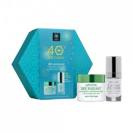 Apivita 40s Birthday Set Bee Radiant Κρέμα Πλούσιας Υφής 50ml + Δώρο 5 Action Eye Serum 15ml