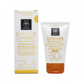 Apivita Suncare Oil Balance Tinted Light Texture Face Cream SPF30 με Eλίχρυσο & 3D Pro-Algae® 50ml