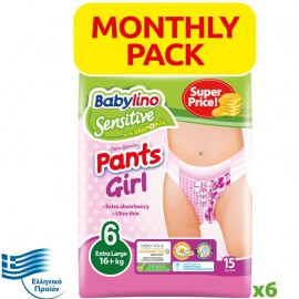 BABYLINO SENSITIVE Monthly Pack Pants Girl No6 (16+ Kg) 90τεμ