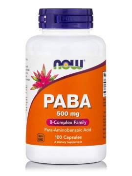 Now Foods PABA 500mg (Para-Aminobenzoic Acid) 100Caps
