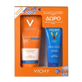 Vichy Set Capital Soleil Beach Protect SPF50+ Fresh Hydrating Milk Face & Body 300ml + Δώρο Vichy Ideal Soleil After Sun Milk 100ml