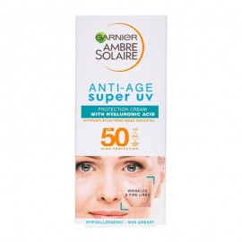 Garnier Ambre Solaire Advanced Sensitive Anti-Age SPF50 Sunscreen & Anti-Wrinkle Face Cream With Hyaluronic Acid 50ml