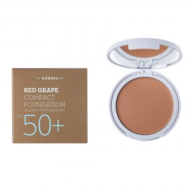 Korres Red Grape Compact Foundation SPF50+ Αντηλιακό Make Up σε μορφή compact με κόκκινο σταφύλι κατά της πρόωρης γήρανσης, Απόχρωση 1 Ανοιχτή, 8gr