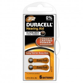 Duracell Hearing Aid Battery With Easytab 312 6τμχ