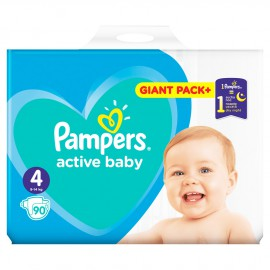 Pampers Active Baby Giant Pack No.4 (9-14Kg) 90τμχ
