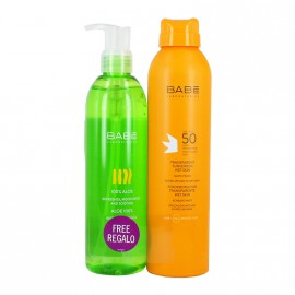 ΒΑΒΕ SUN PROMO PACK TRANSPARENT SUNSCREEN WET SKIN + 100% ALOE real size 200 ml + 300ml