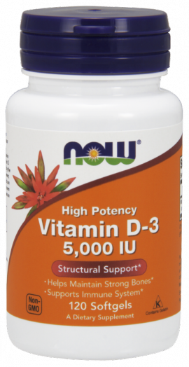 Now Foods Vitamin D-3 5000IU 120 Softgels
