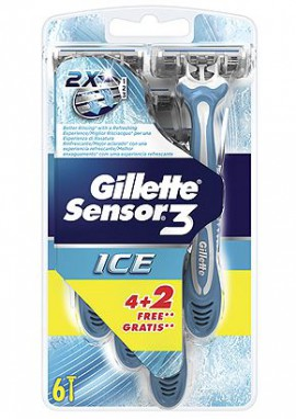 GILLETTE Sensor 3 Ice 6τμχ (4+2 Δώρο)