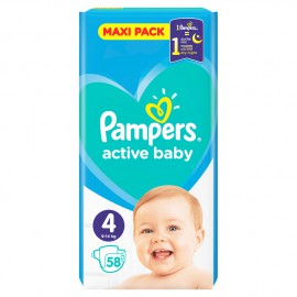 Pampers Active Baby Maxi Pack No.4 (9-14Kg) 58τμχ