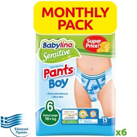 BABYLINO SENSITIVE Monthly Pack Pants Boy No6 (16+ Kg) 90τεμ