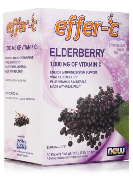 Now Foods Effer-C Elderberry (Iodine Free - Sugar Free) Vegetarian 30Packets