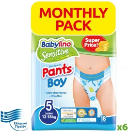 BABYLINO SENSITIVE Monthly Pack Pants Boy No5 (12-18Kg) 108τεμ