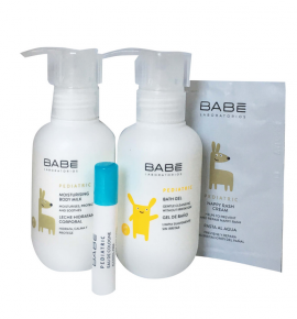 Babe Baby Travel Time Kit Pediatric Moisturising Body Milk 100ml + Pediatric Bath Gel 100ml + Pediatric Nappy Rash Cream 3ml + Pediatric Eau De Colonia 2ml