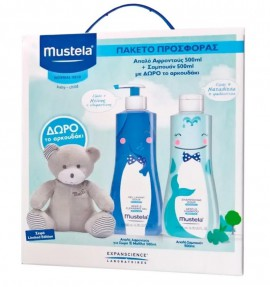 MUSTELA GENTLE CLEANSING GEL LIMITED EDITION 500ML + MUSTELA GENTLE SHAMPOO LIMITED EDITION 500ML + ΔΩΡΟ ΑΡΚΟΥΔΑΚΙ