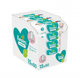 Pampers Μωρομάντηλα Sensitive XL Monthly Βοx (15x80τμχ) 1200τμχ