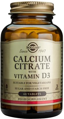 SOLGAR CALCIUM CITRATE 250MG WITH D 60TAB