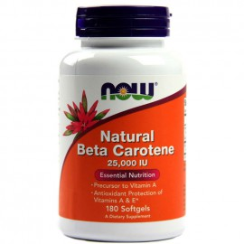 Now Foods Natural Beta Carotene 25000 IU, 90 Softgels