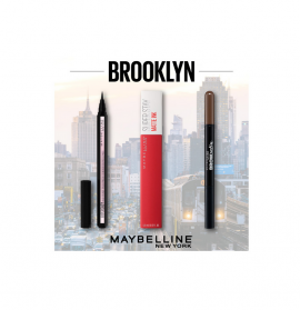 Maybelline Set Brow Satin Smoothing Duo-Brow Pencil & Filling Powder 04 Dark Brown + Maybelline Hyper Easy Liquid Liner Ματιών + Maybelline Superstay Matte Ink Lipstick 20 Pioneer 5ml