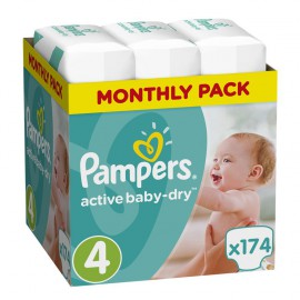 PAMPERS Active Baby-Dry No.4 (8-14Kg) 174 Πάνες
