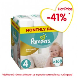 Pampers Premium Care Πάνες Μέγεθος 4 Maxi 9-14 kg Monthly Pack 168 Πάνες