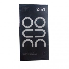 DUO 2 in 1 Ultra Thin Condoms & Natural Lubricants 6τμχ