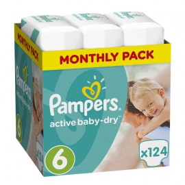 PAMPERS Active Baby Dry Monthly Pack Νο6 (15+kg) 124 Πάνες