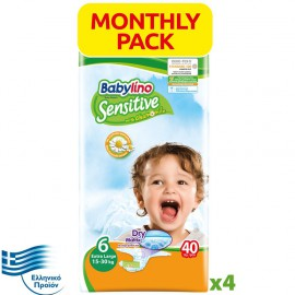 BABYLINO SENSITIVE Monthly Pack No6 (15-30Kg) 160τεμ